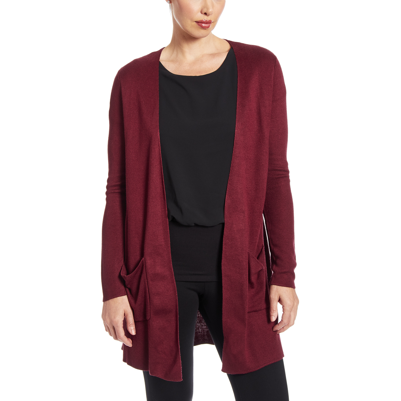 Solid Two Pocket Duster in Wine
