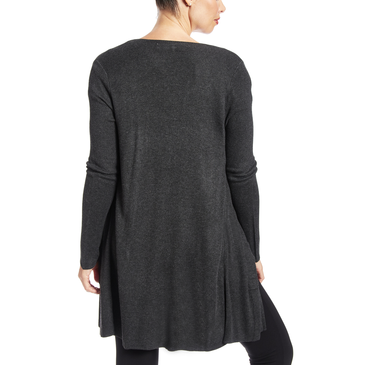 Solid Two Pocket Duster Cardigan in Charcoal Heather