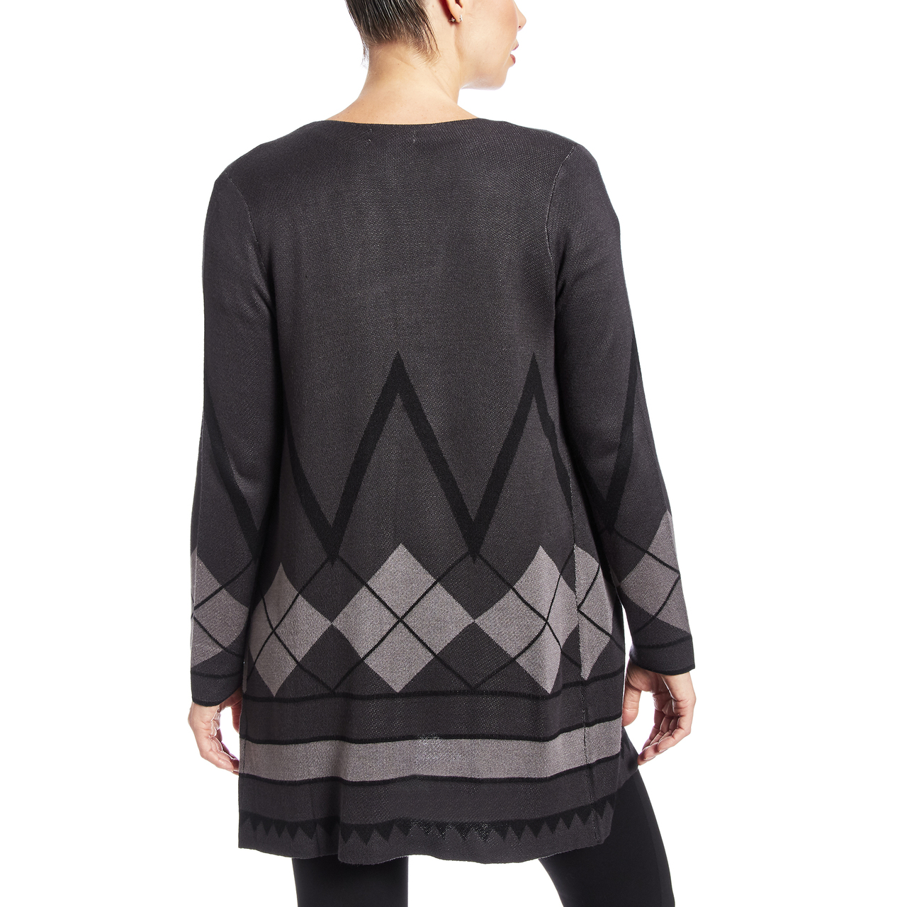 Two Pocket Duster With Argyle Pattern In Charcoal Heather