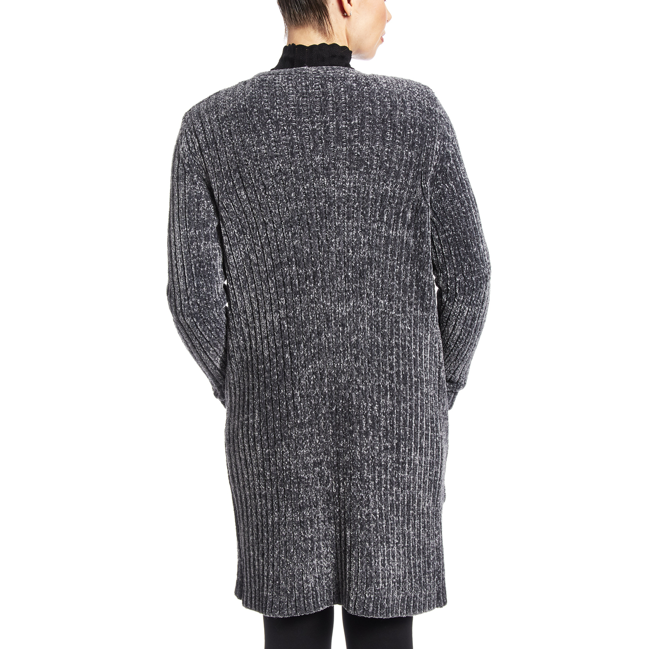 Chenille Two Pocket Duster In Charcoal Heather