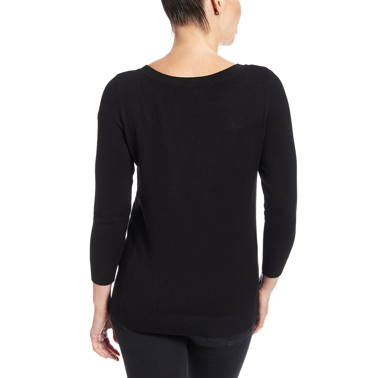 Boat Neck Sweater With Side Rib Detail In Black