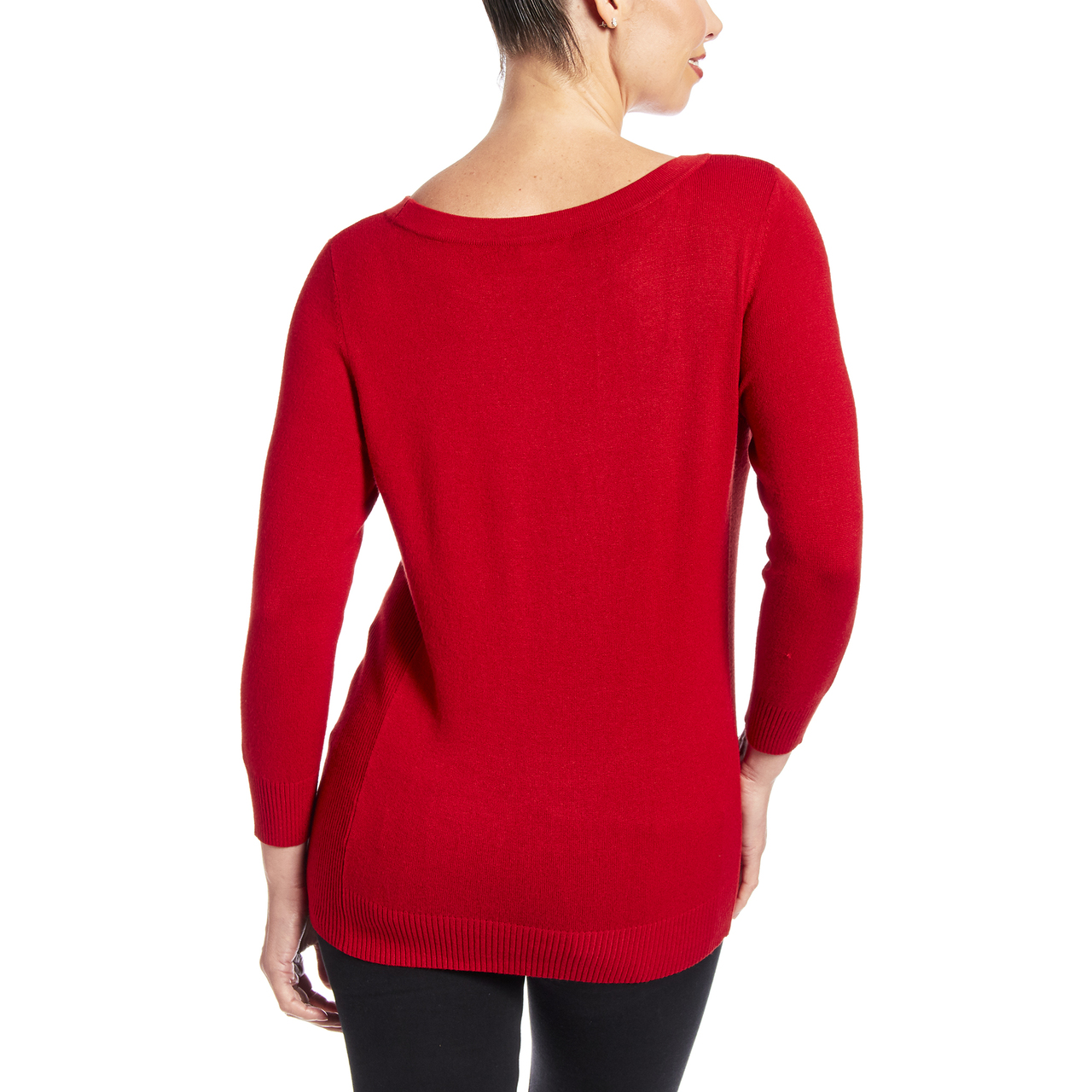 Boat Neck Sweater With Side Rib Detail In Burnt Orange