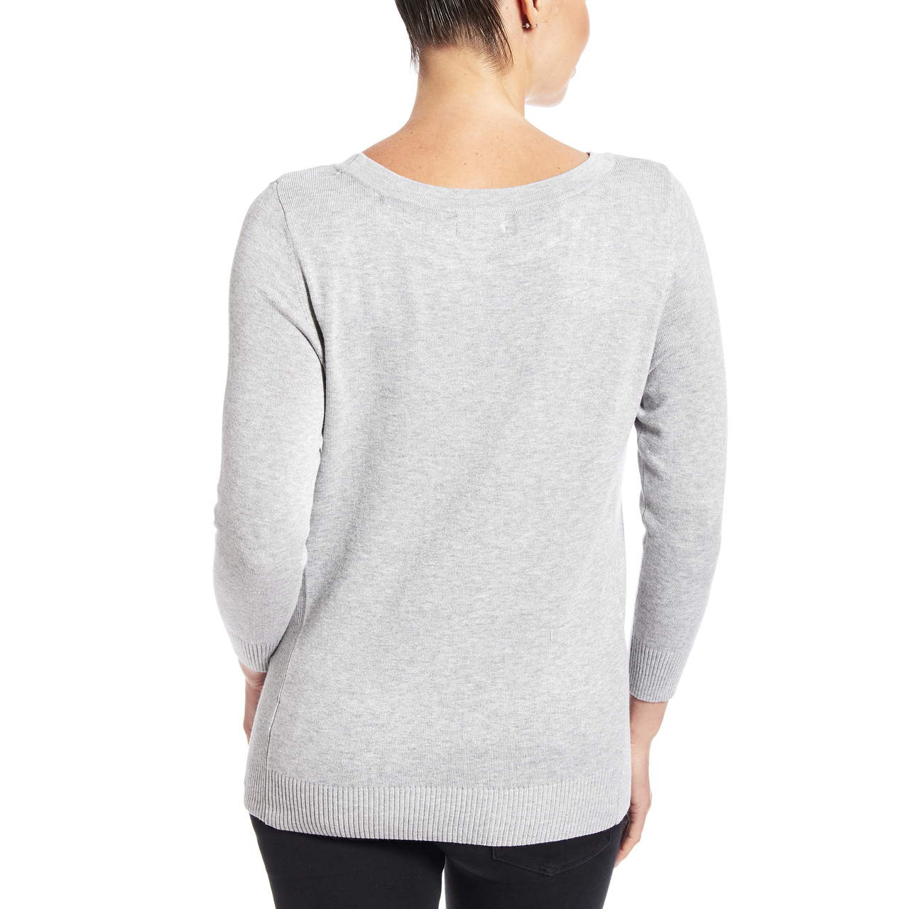 3/4 Sleeve Boat Neck Sweater With Side Rib Detail In Light Heather Grey