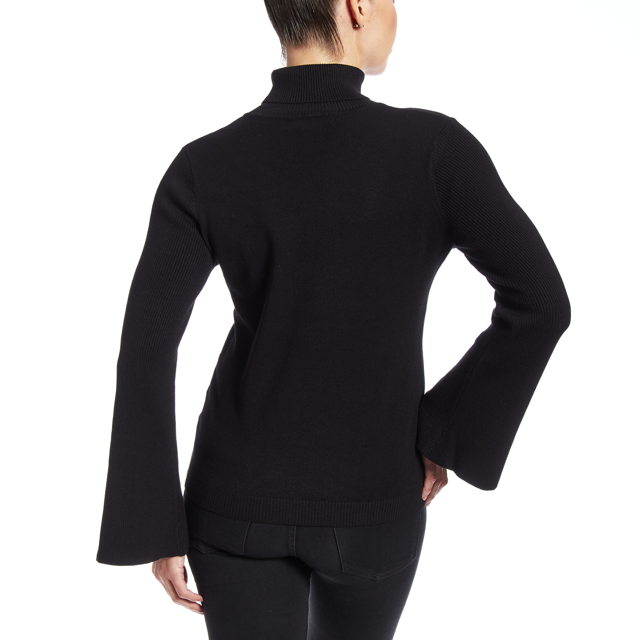Turtleneck With Split Sleeve and Novelty Buttons In Black