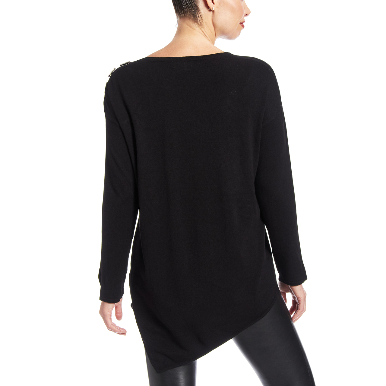Assymetric Hem Sweater with Hardware Detail at Shoulder and Cuffs In Black