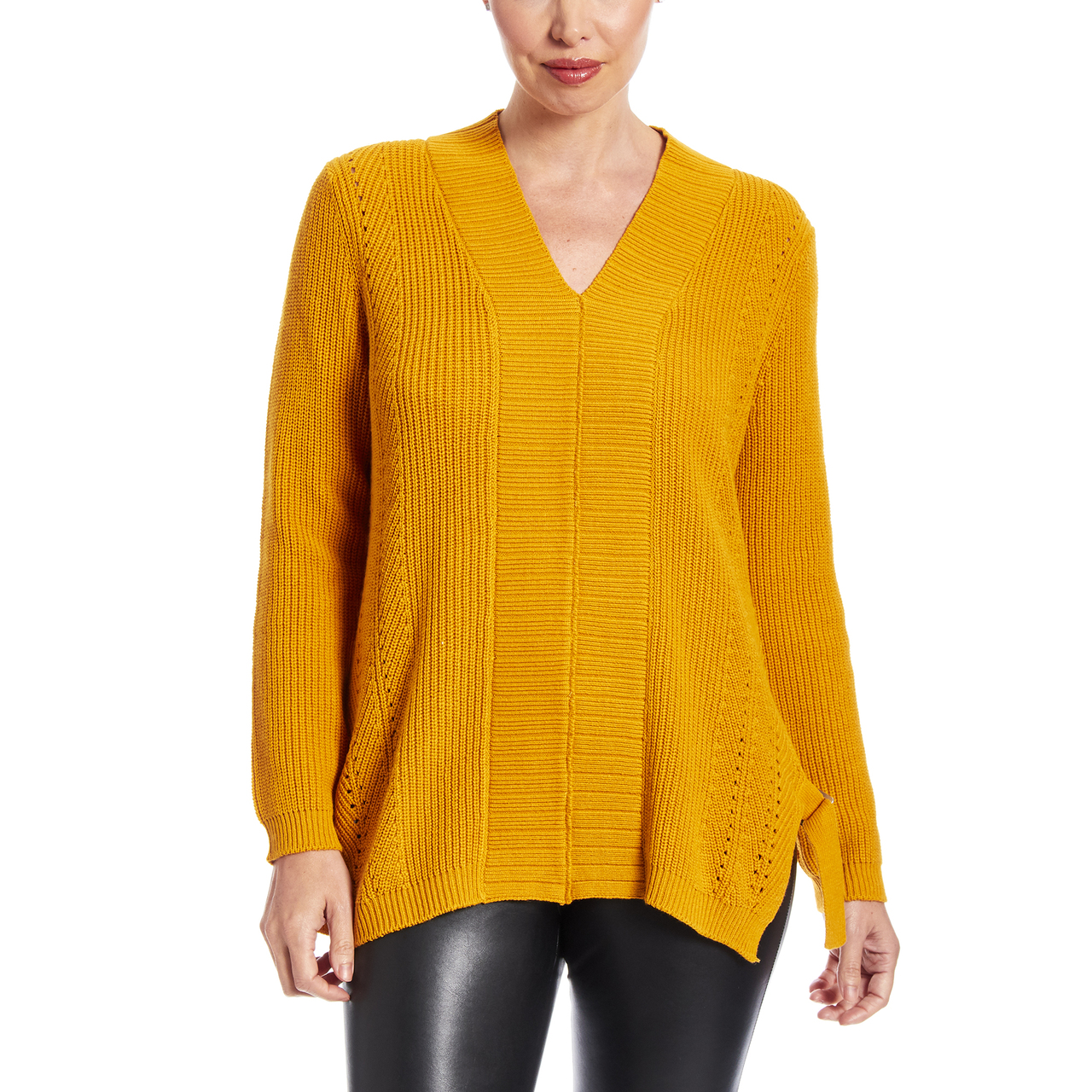 Mixed Stitch Vneck Sweater With Side Buckles in Gold