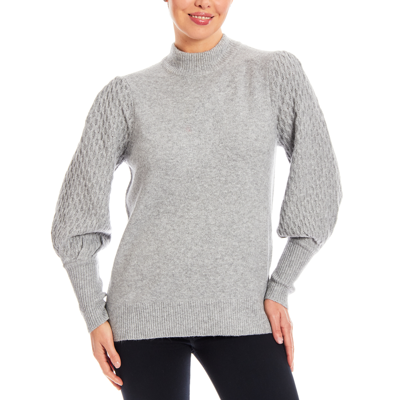 Cozy Mockneck Sweater With Mixed Stitch Sleeve In Soft Grey