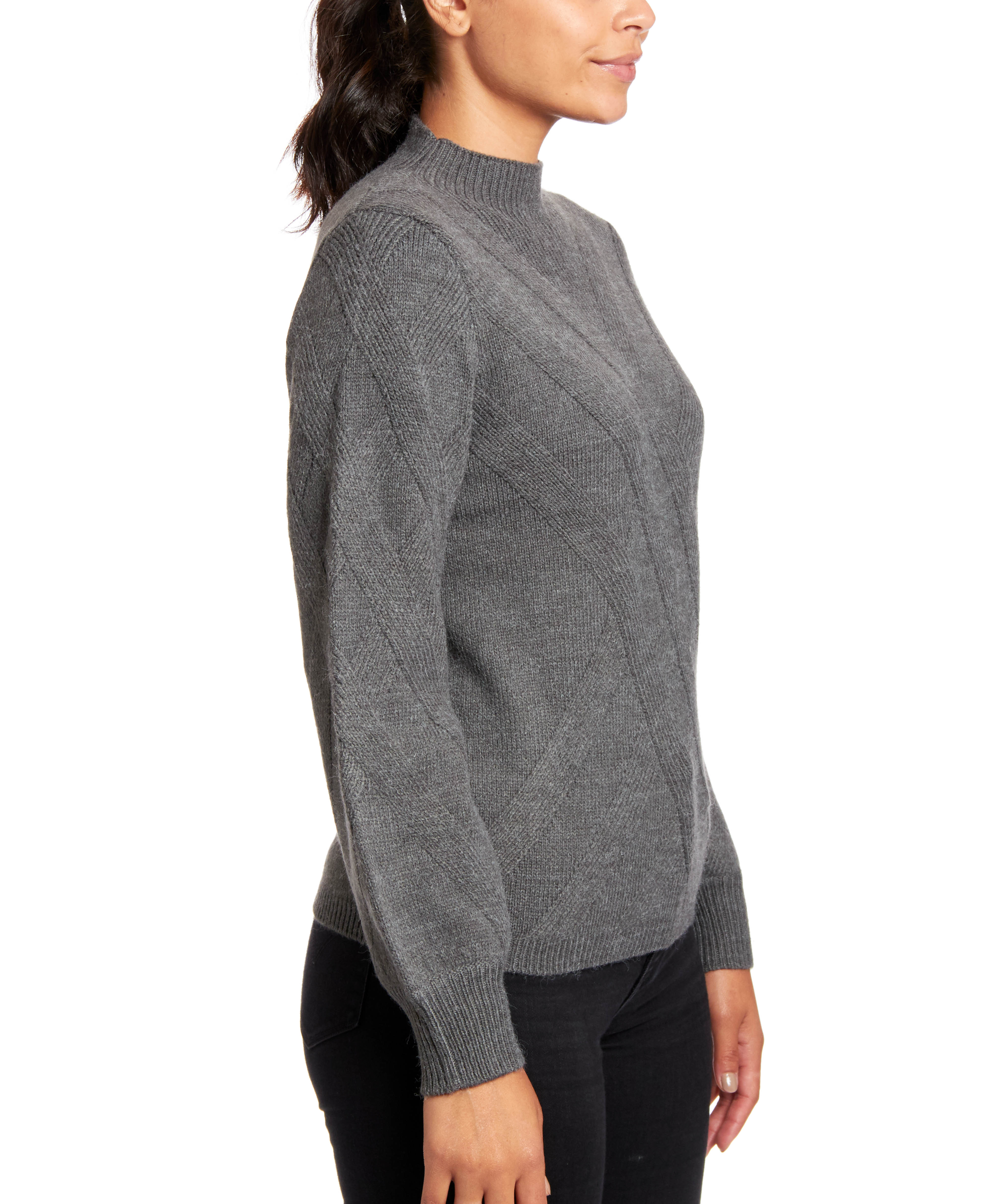Mockneck Sweater With Cross Stitch Pattern In Grey