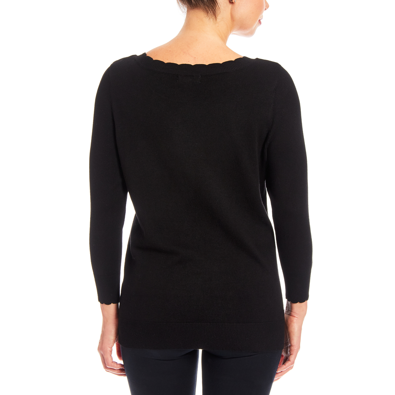 3/4 Sleeve Scallop Neck Sweater In Black