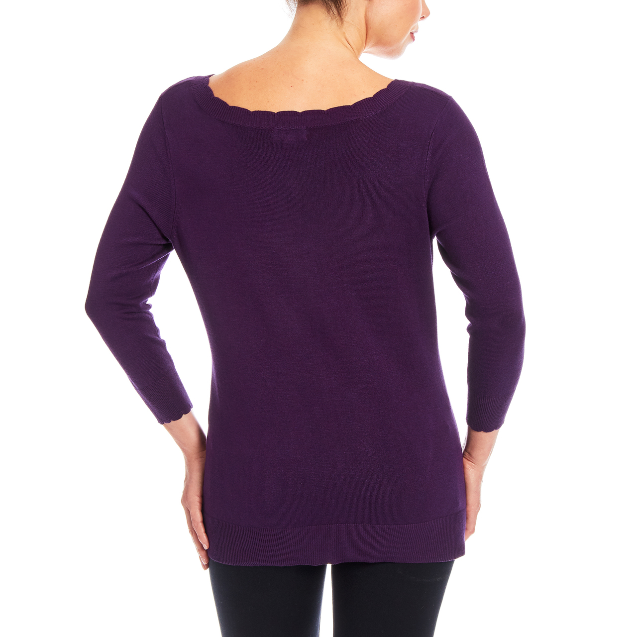 3/4 Sleeve Scallop Neck Sweater In Blackberry