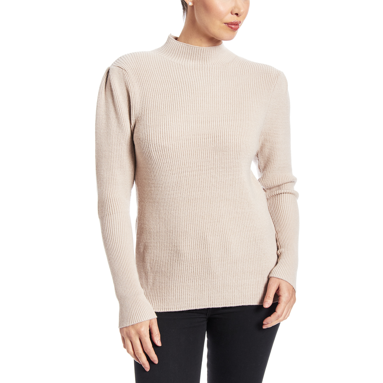 Pleated Shoulder Mockneck Sweater In Taupe