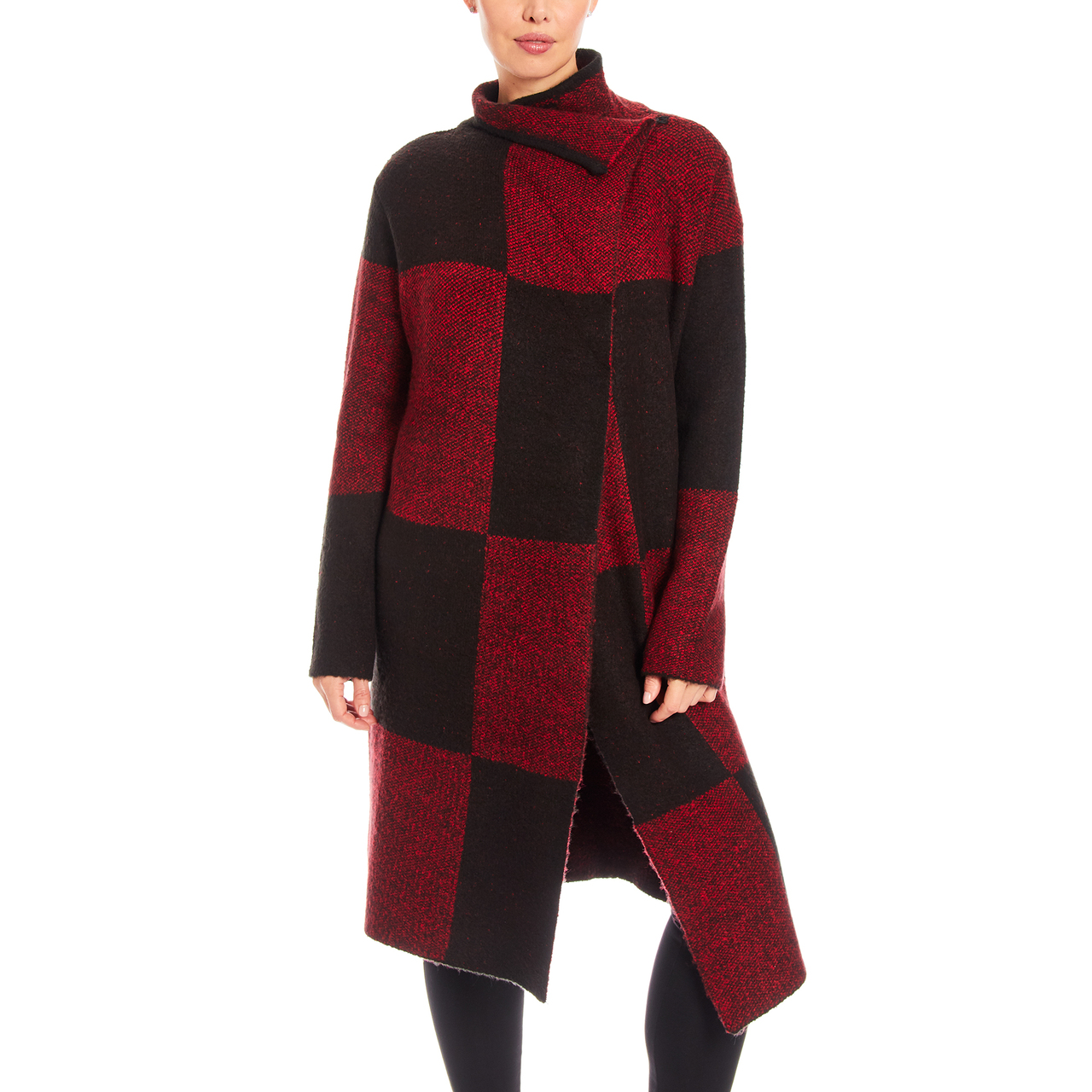 Large Buffalo Plaid Coatigan With Closure In Red Combo