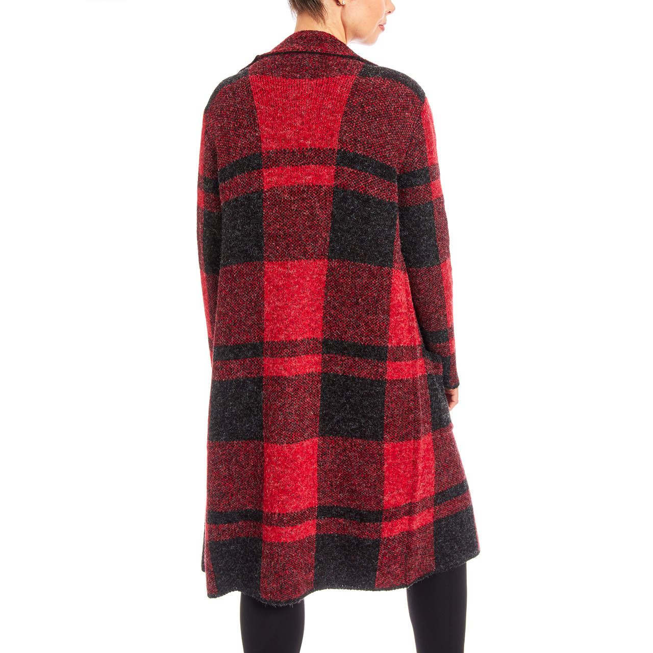 Long Plaid Coatigan In Red Combo