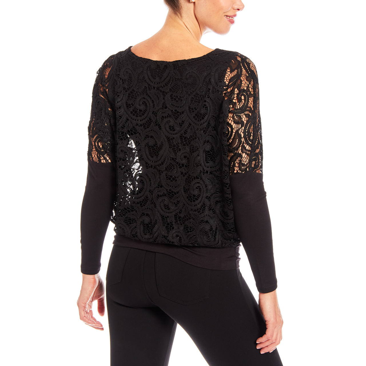 Dolman Long Sleeve Lace Top with Banded Knit Bottom In Black