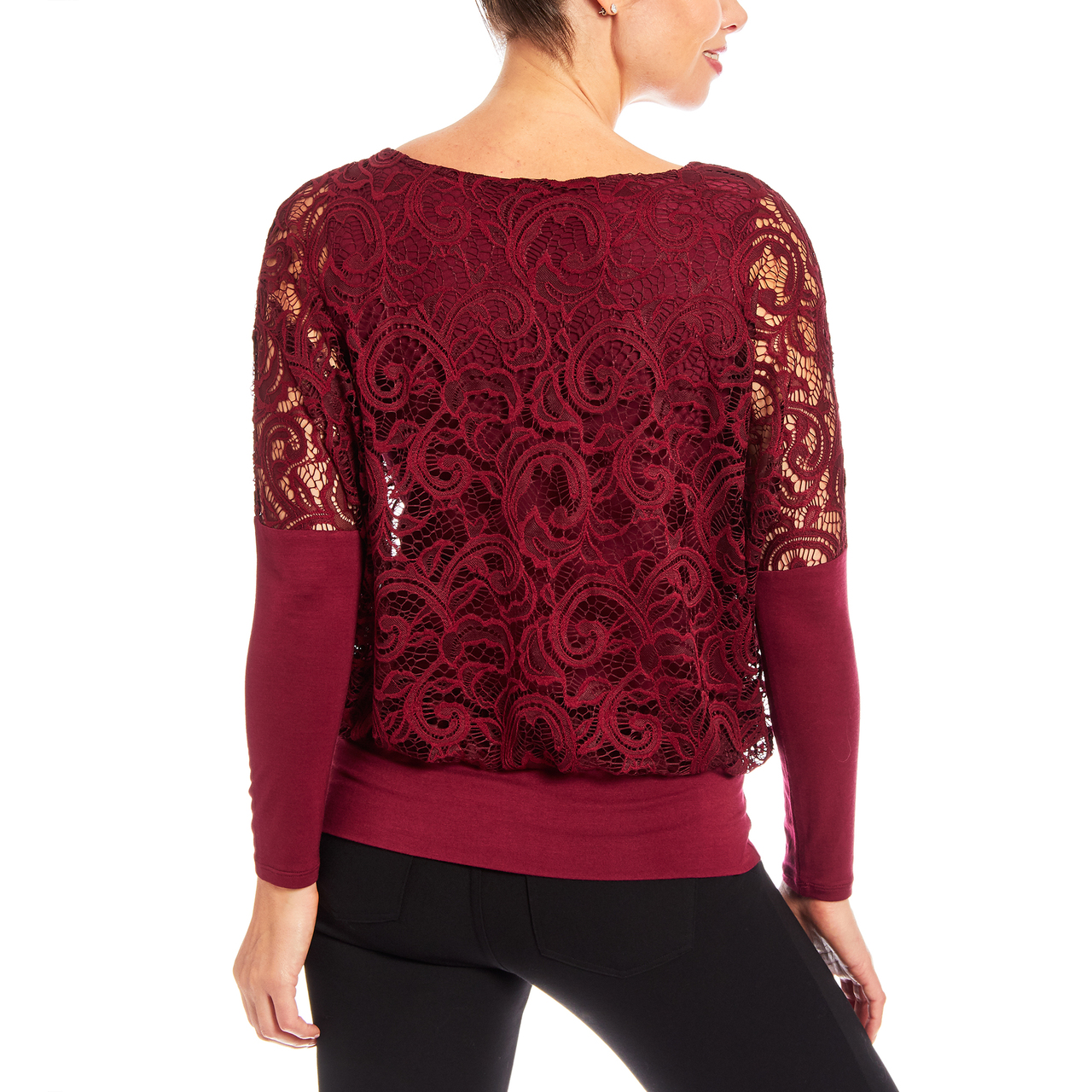 Dolman Long Sleeve Lace Top with Banded Knit Bottom In Wine