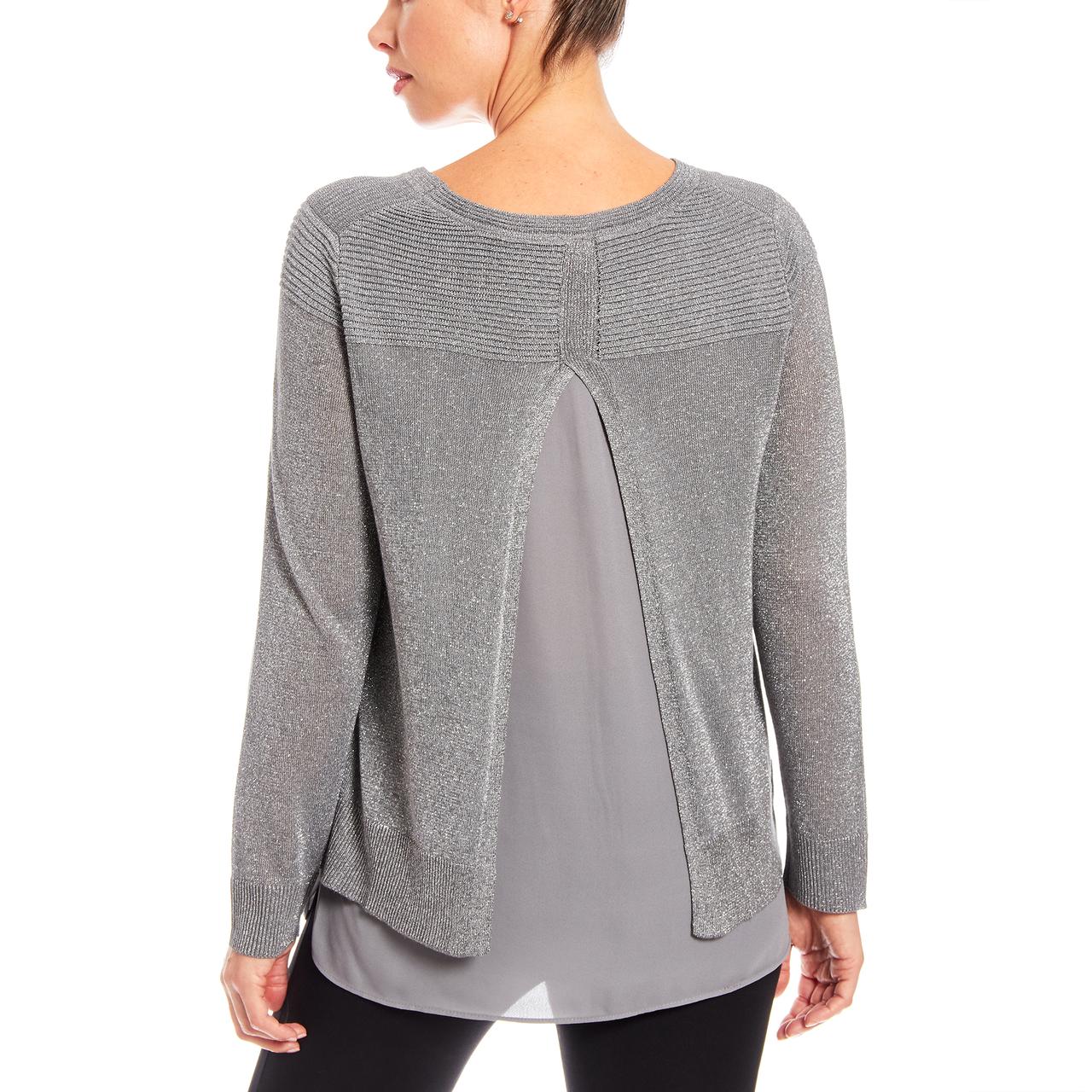 Lurex Sweater With Woven Hem And Split Back In Dark Grey
