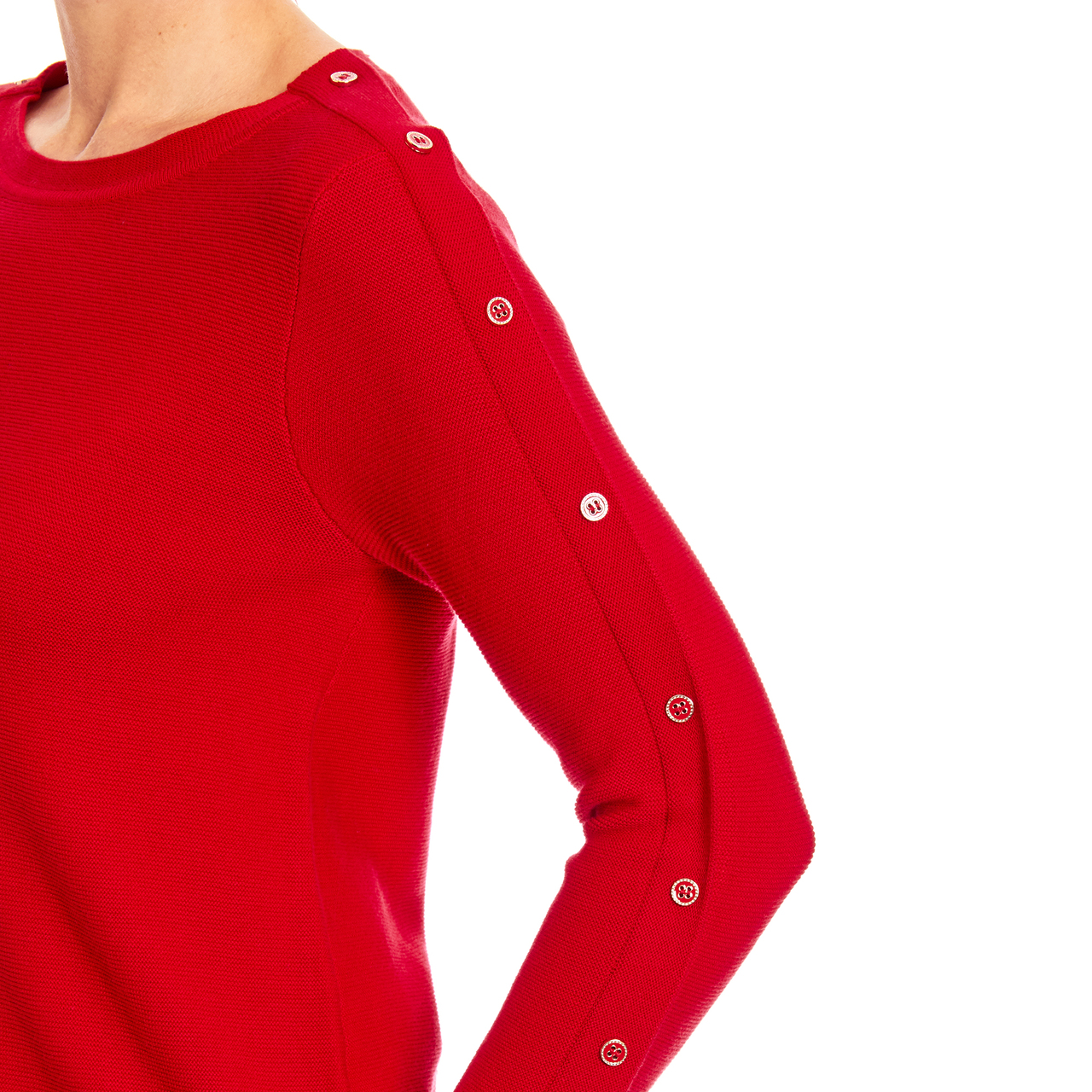 3/4 Sleeve Novelty Button Sleeve Crew Neck Textured Sweater in Red
