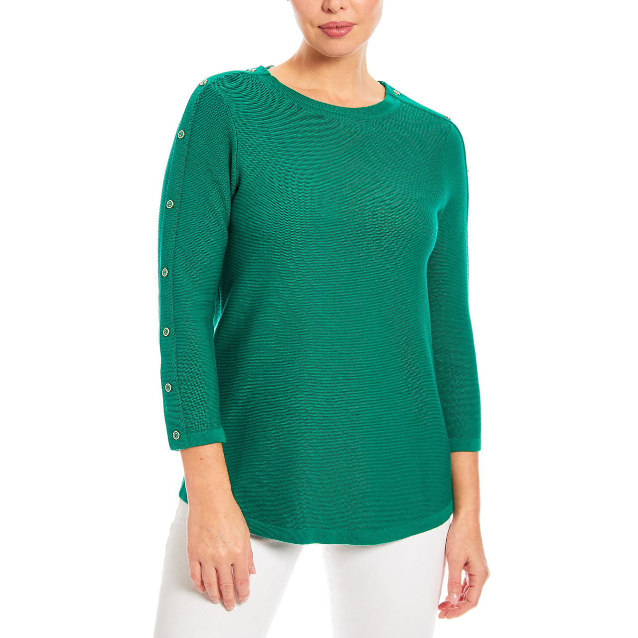 3/4 Sleeve Novelty Button Sleeve Crew Neck Textured Sweater in Kelly Green