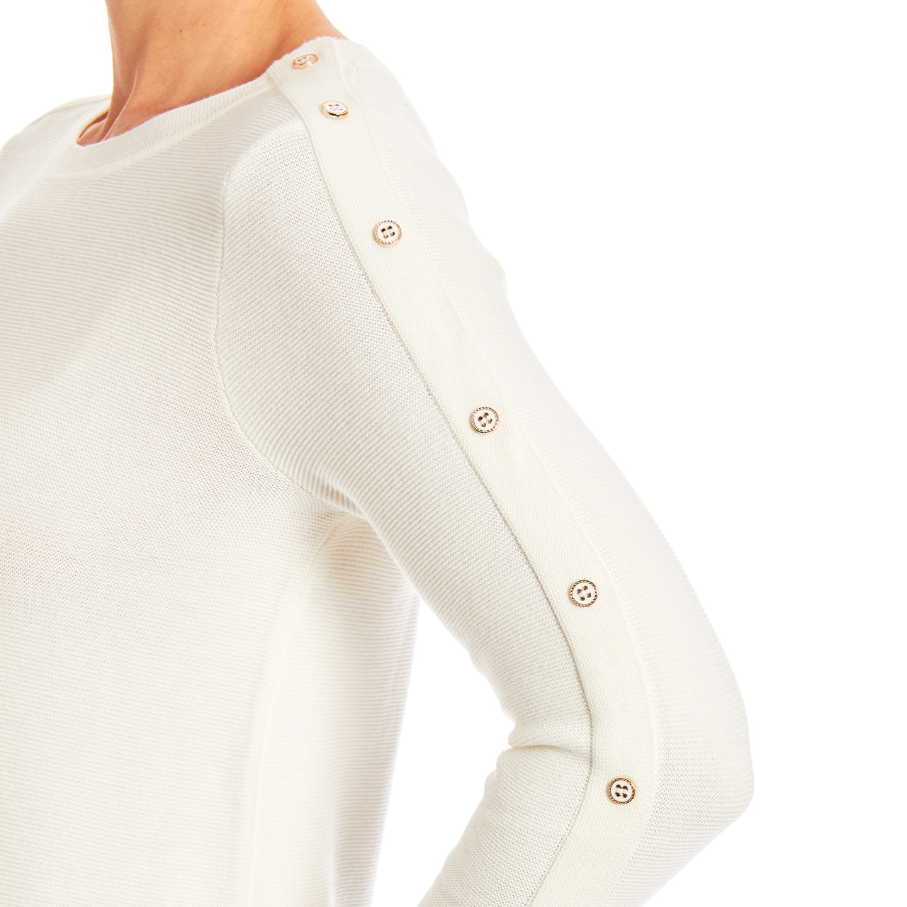 3/4 Sleeve Novelty Button Sleeve Crew Neck Textured Sweater in Ivory