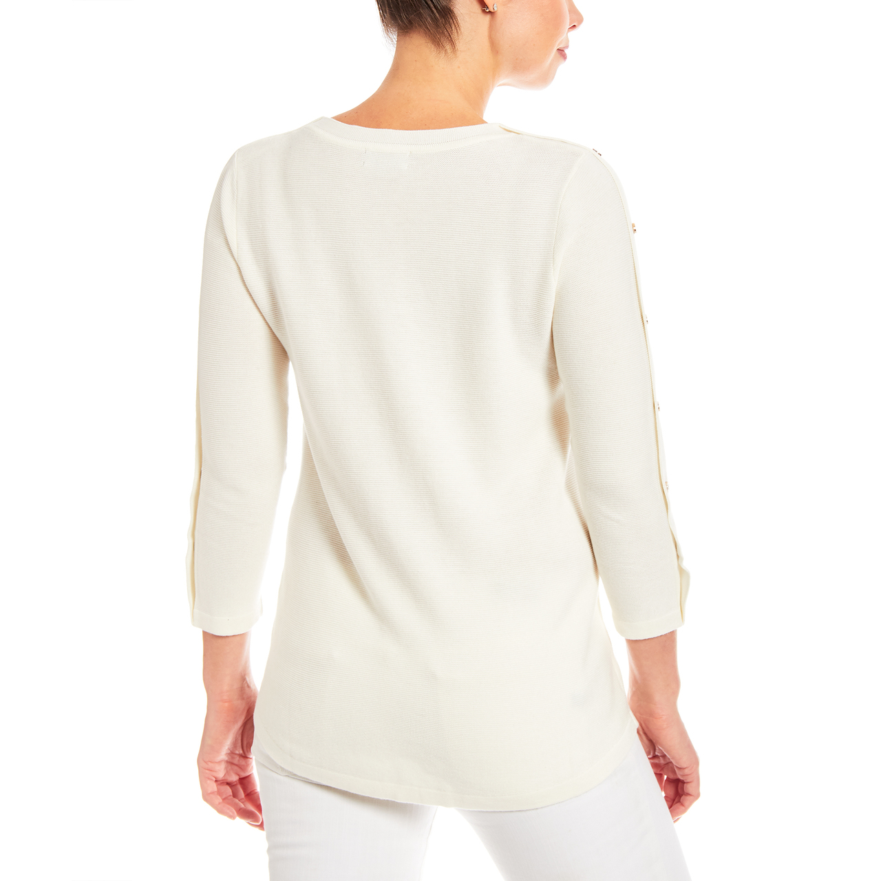 Button Sleeve Crew Neck Sweater in Ivory