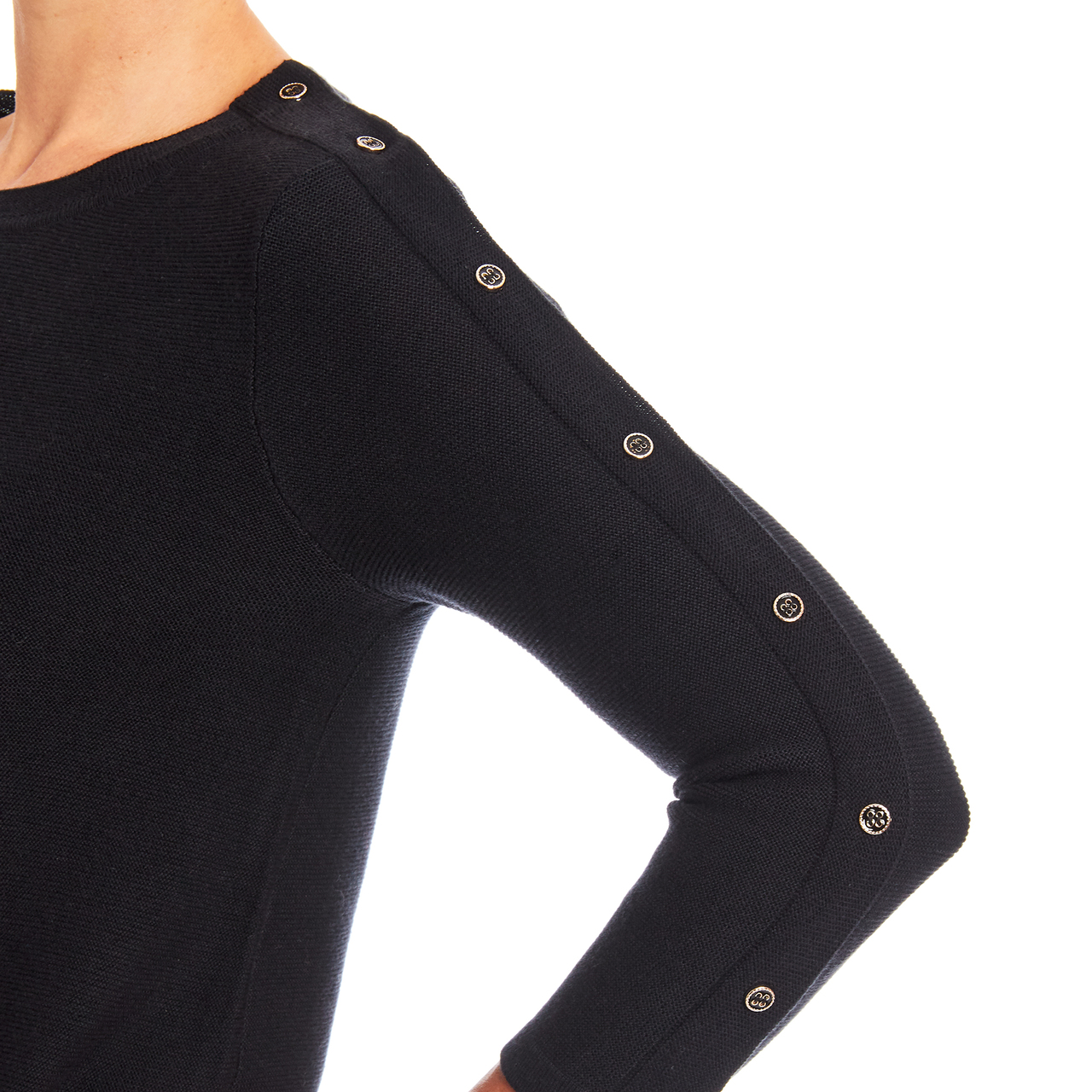 3/4 Sleeve Novelty Button Sleeve Crew Neck Textured Sweater in Navy Yard