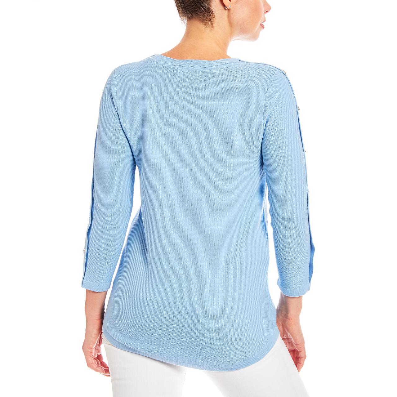 3/4 Sleeve Novelty Button Sleeve Crew Neck Textured Sweater in Light Blue