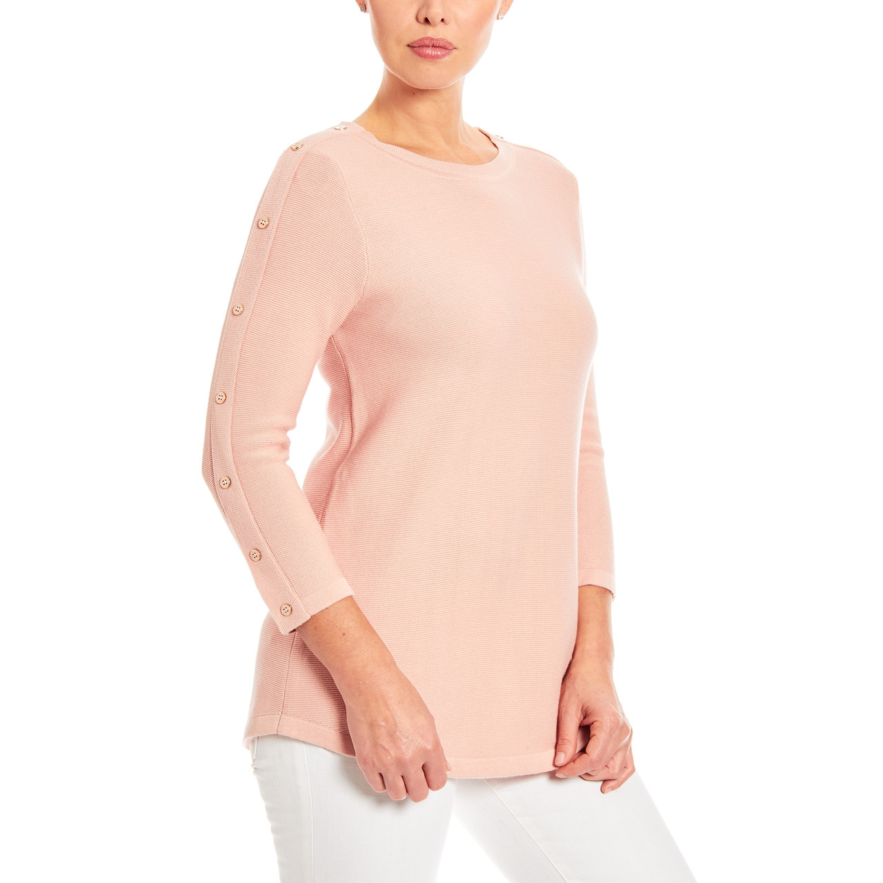 3/4 Sleeve Novelty Button Sleeve Crew Neck Textured Sweater in Rose