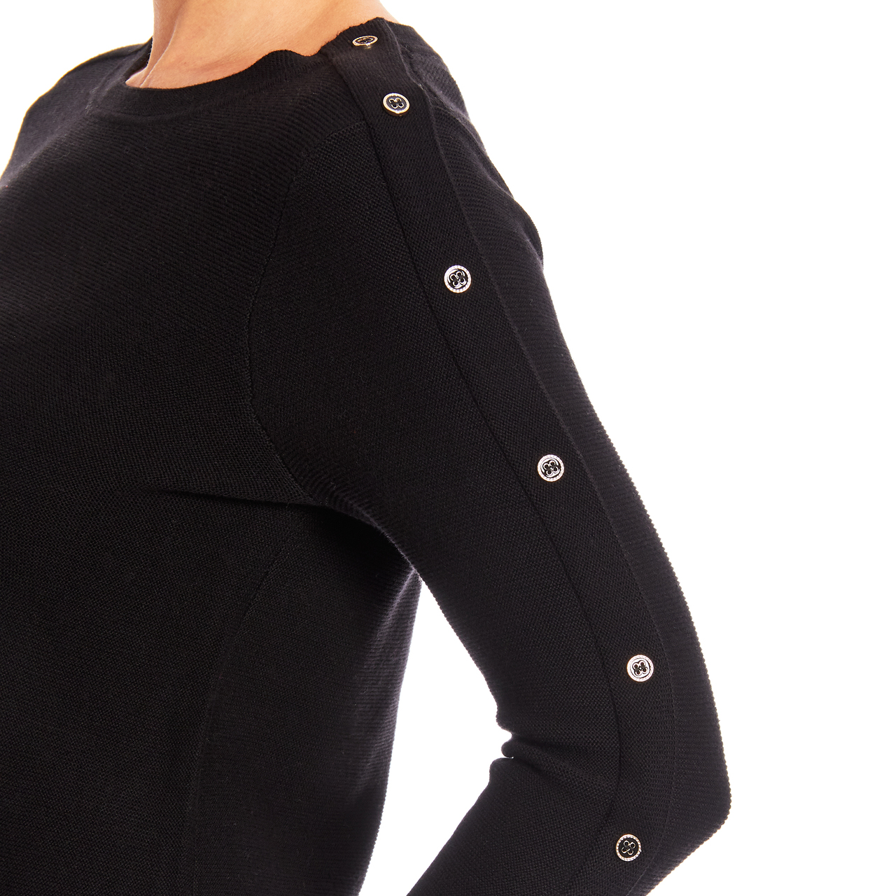 3/4 Sleeve Novelty Button Sleeve Crew Neck Textured Sweater in Black