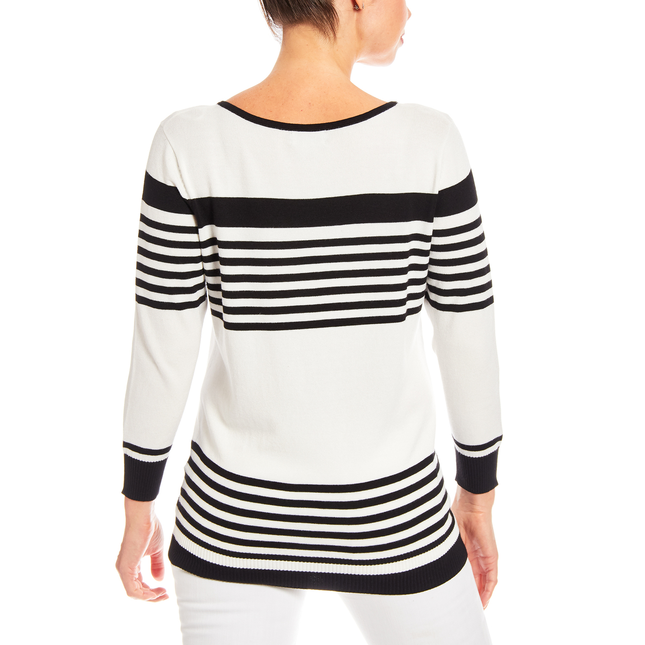 3/4 Sleeve Square Neck Stripe Sweater in Black And Ivory