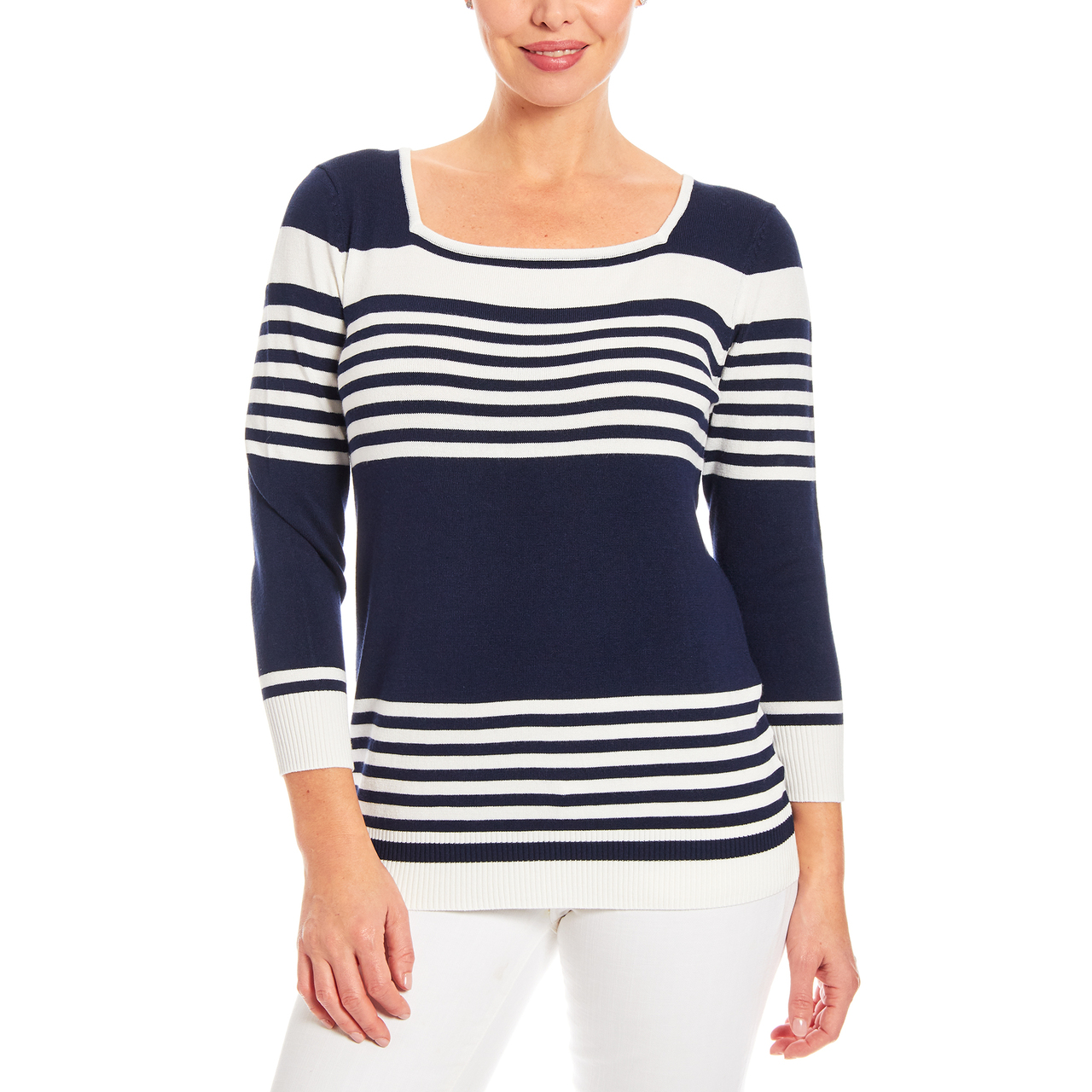 3/4 Sleeve Square Neck Stripe Sweater in Navy And Ivory