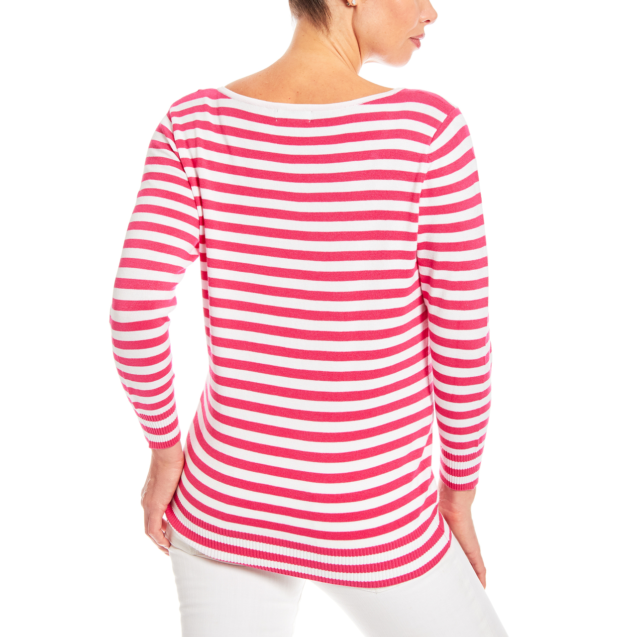 3/4 Sleeve Square Neck Stripe Sweater in Hot Pink and White
