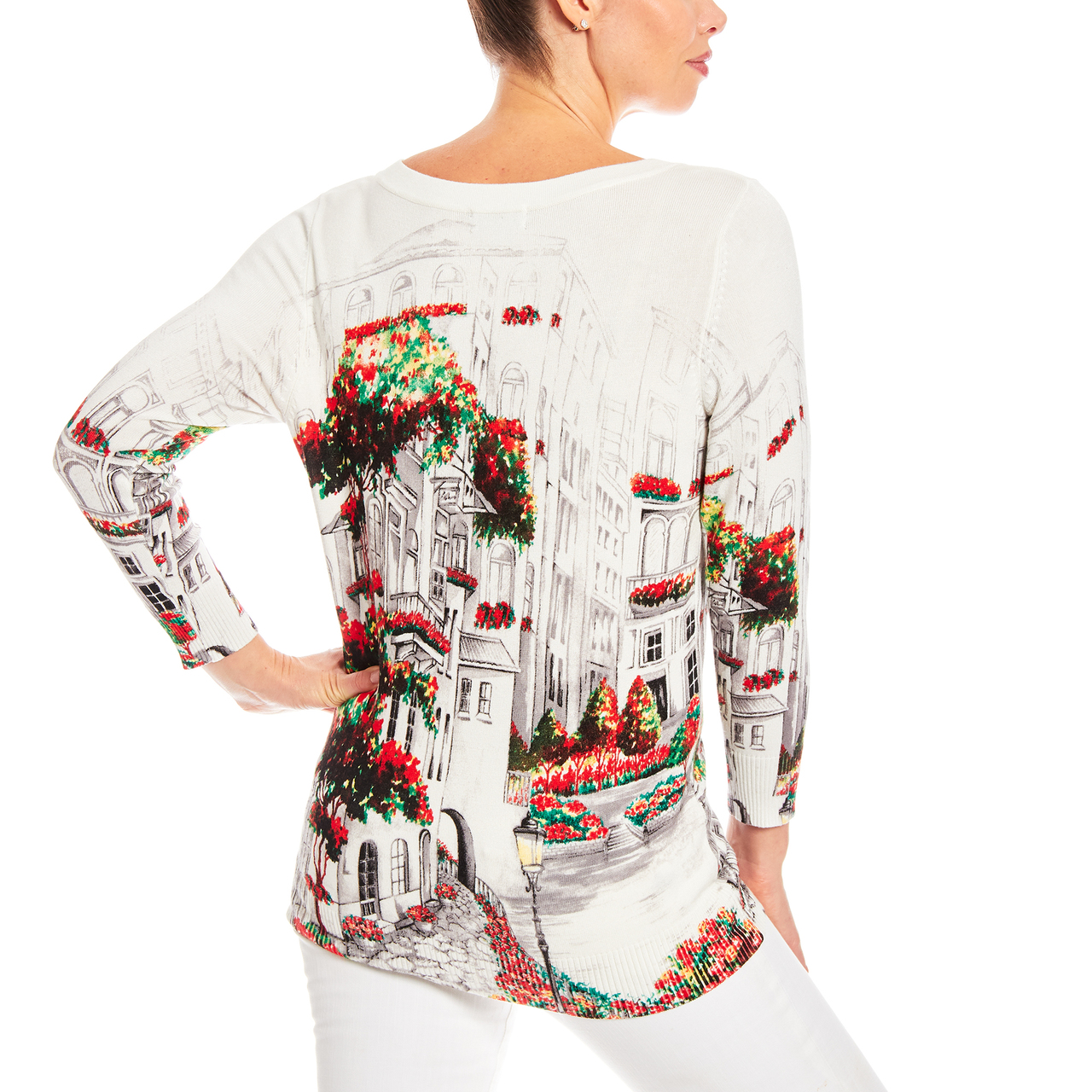 3/4 Sleeve Italian Garden Scene Printed Sweater