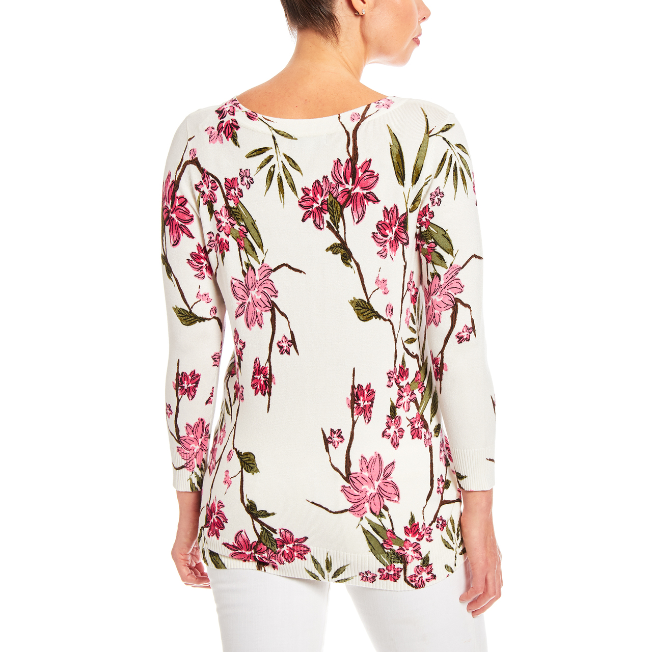 3/4 Sleeve Cherry Blossom Printed Sweater