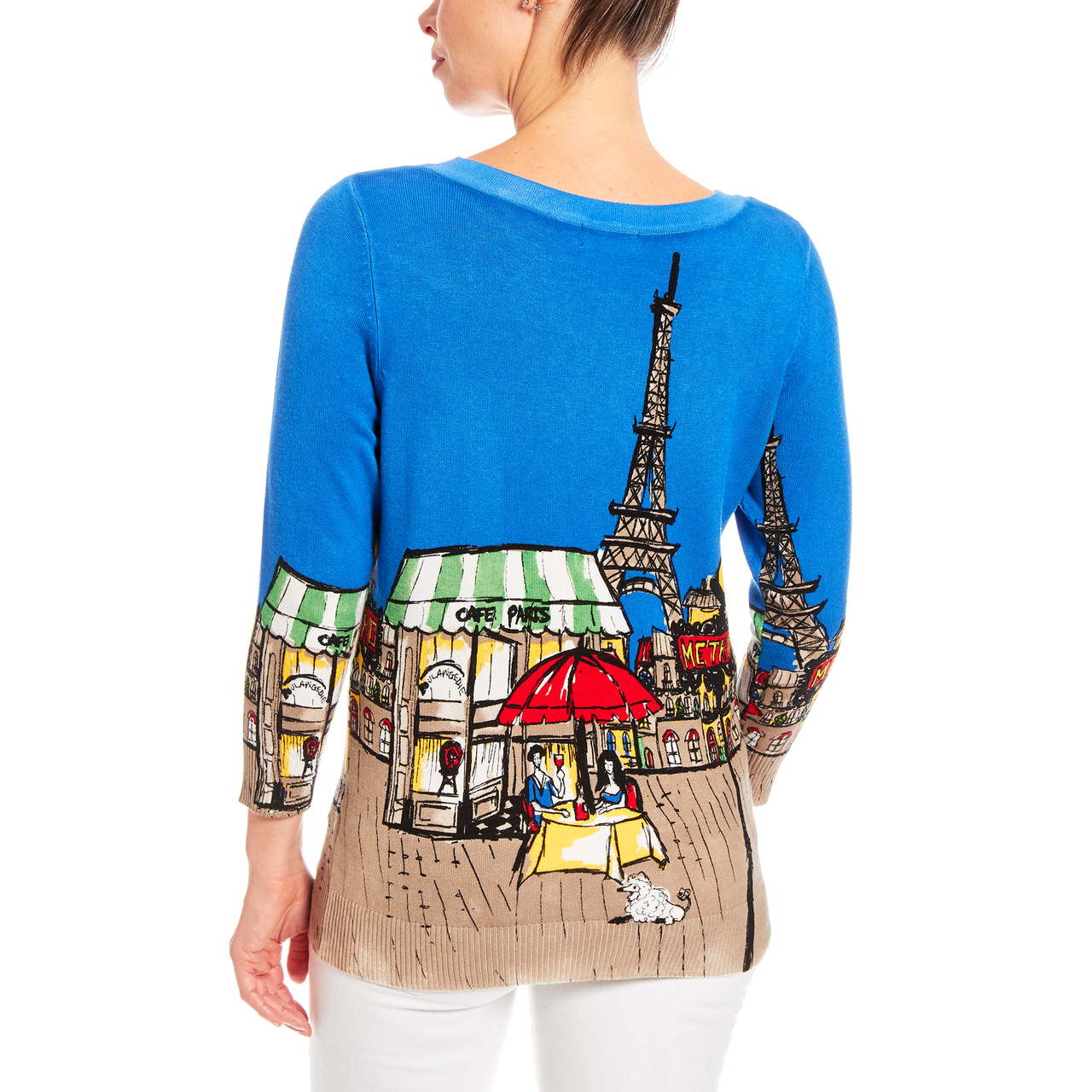 Cafe In Paris Scene 3/4 Sleeve Printed Sweater