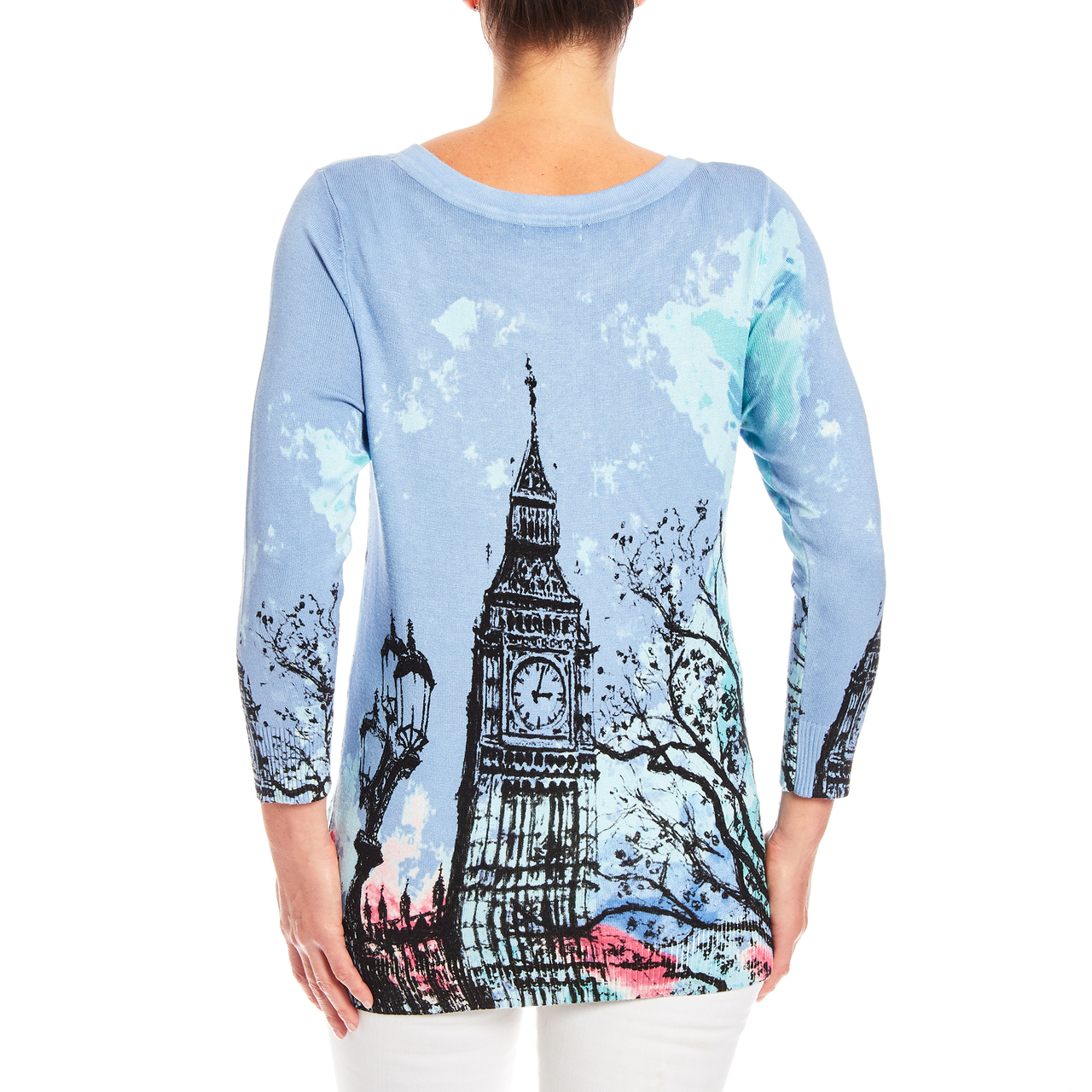London Scene 3/4 Sleeve Printed Sweater