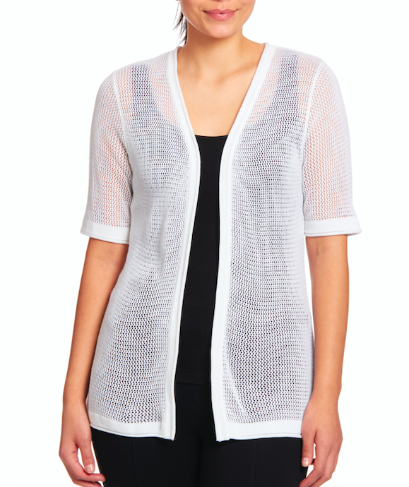 Open Stitch Short Sleeve Cardigan in White