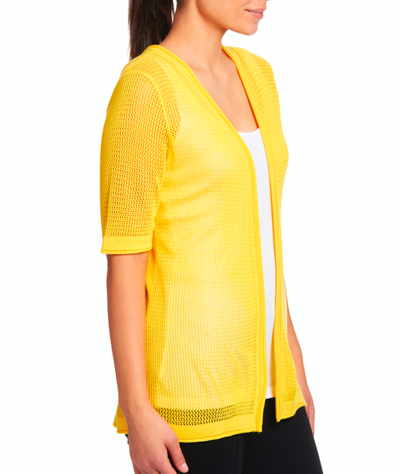 Open Stitch Short Sleeve Cardigan in Sunbust