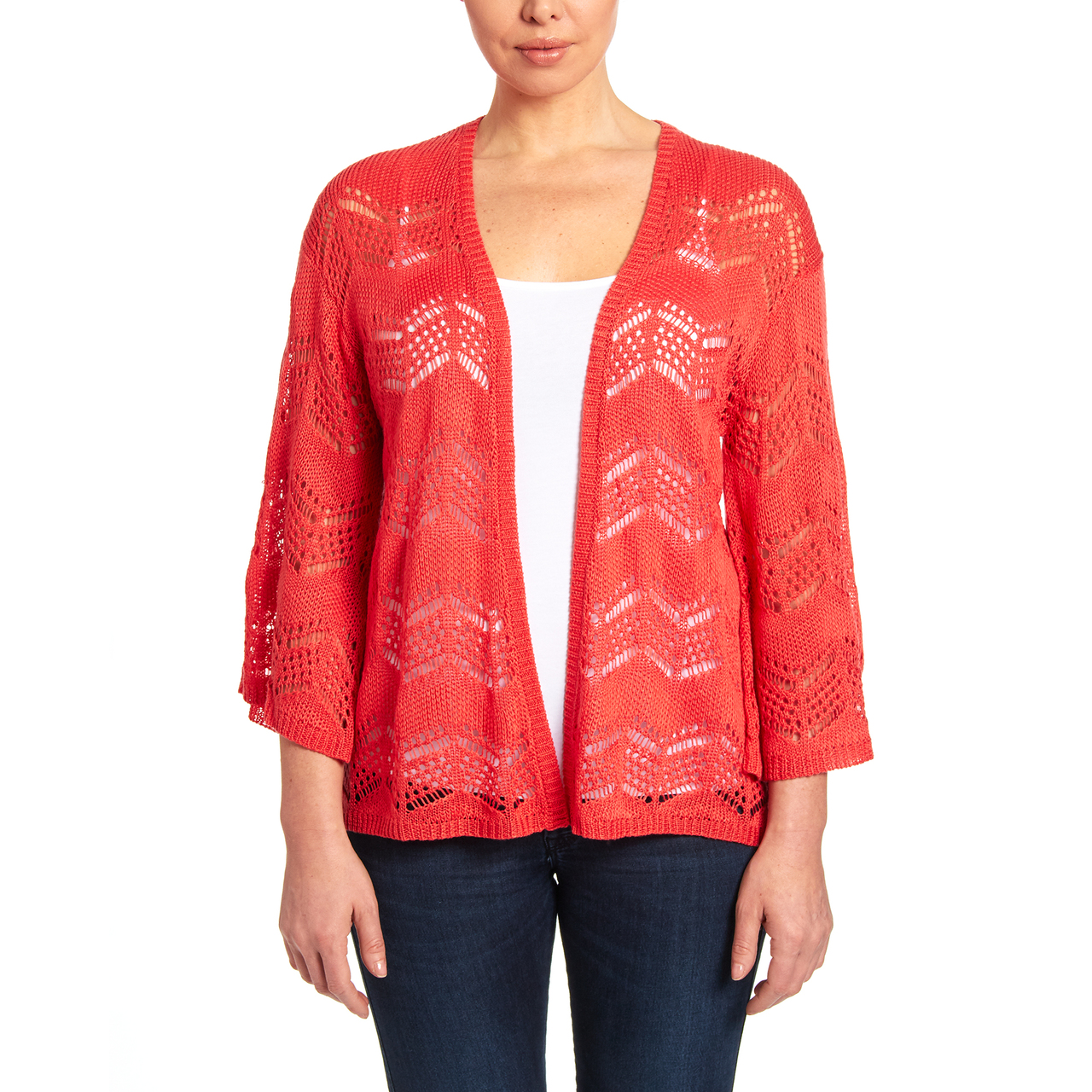 Bell Sleeve Open Stitch Cardigan in Coral Reef