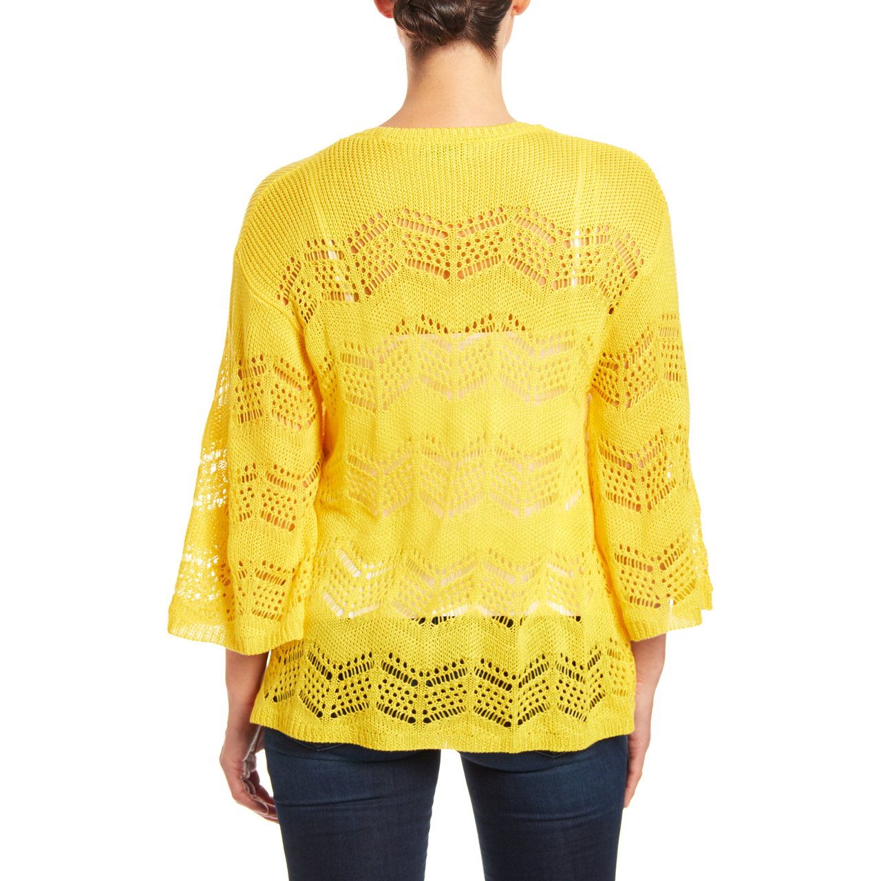 Bell Sleeve Open Stitch Cardigan in Sunburst