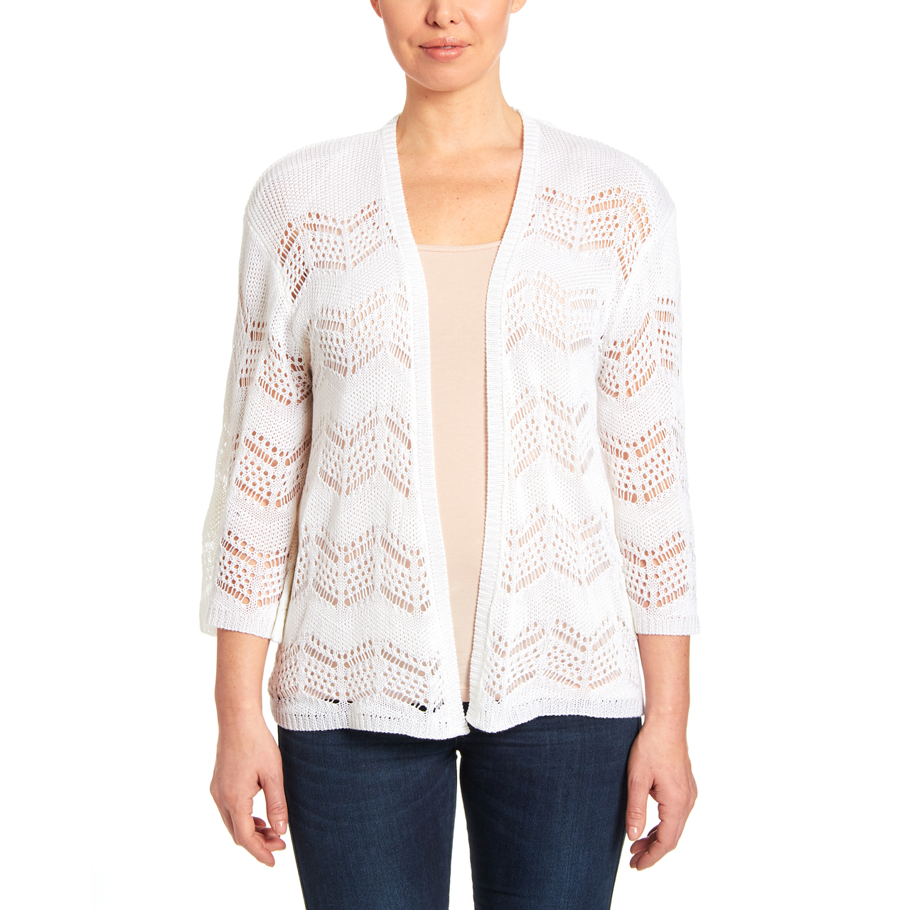 Bell Sleeve Open Stitch Cardigan in White