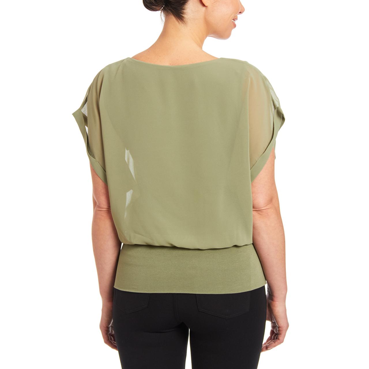 Dolman Short Sleeve Blouse in Fern Green