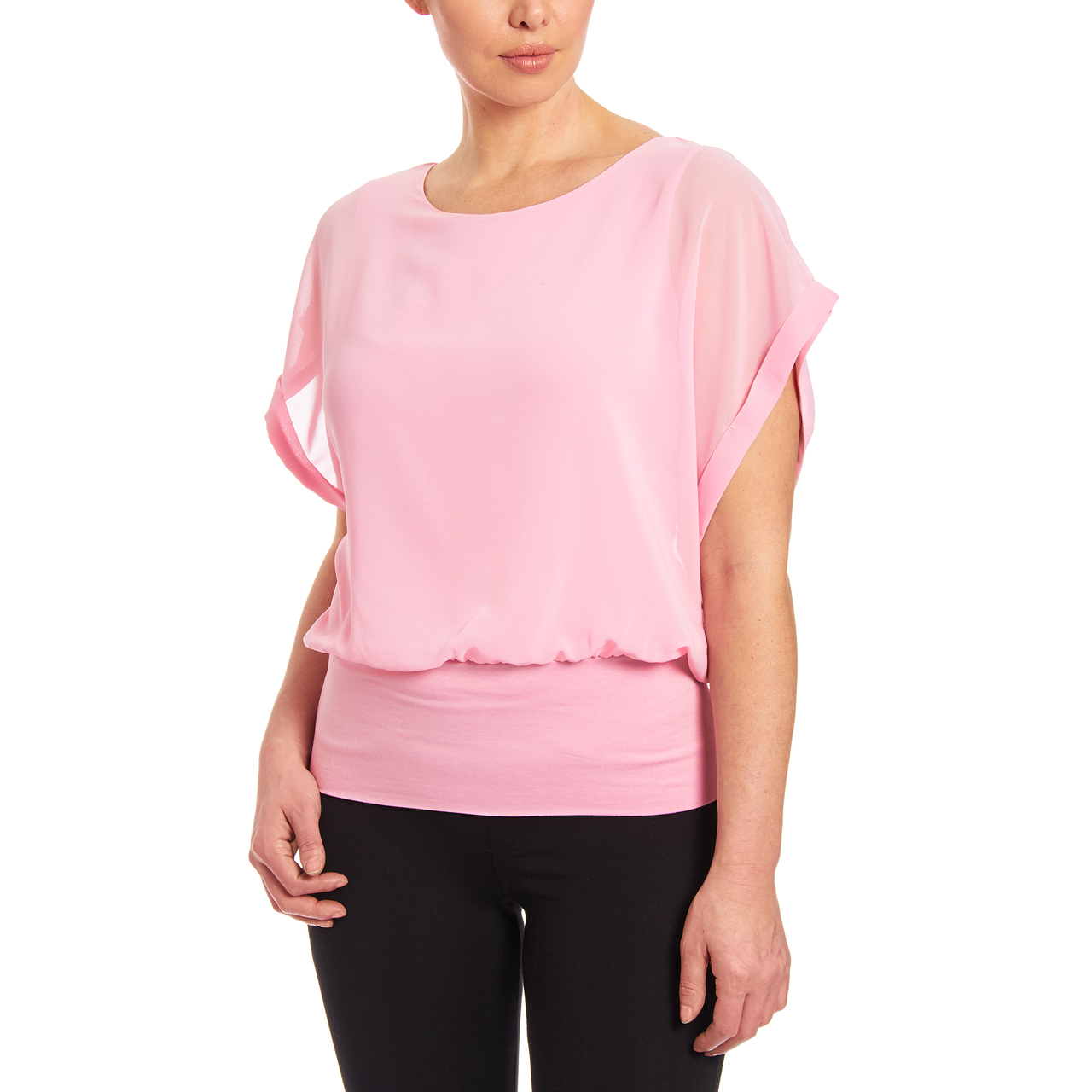 Dolman Short Sleeve Blouse in Shell