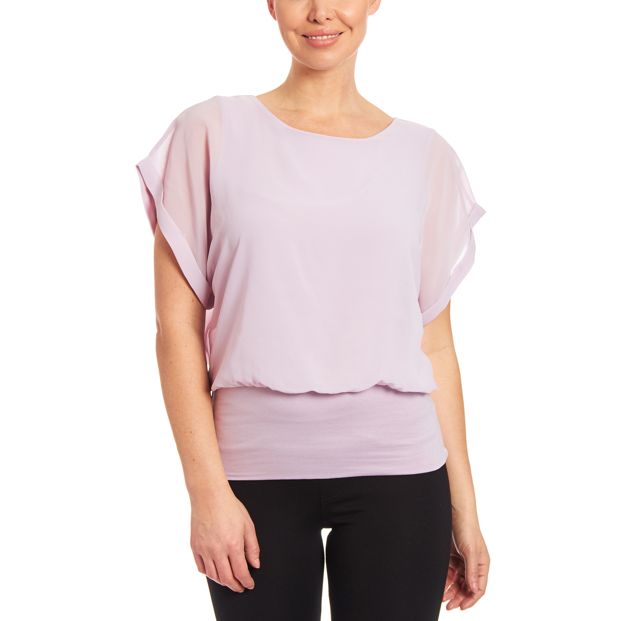 Dolman Short Sleeve Blouse in Sugar Plum