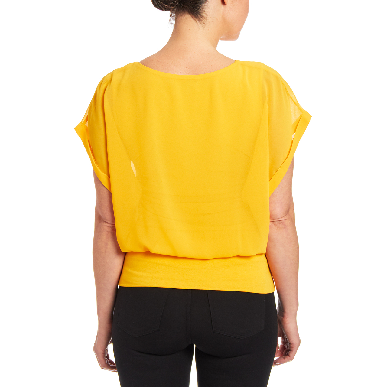 Dolman Short Sleeve Blouse in Daffodil