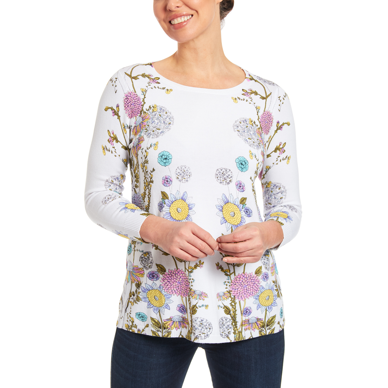 Crewneck Keyhole Tunic Sweater in Floral Fields