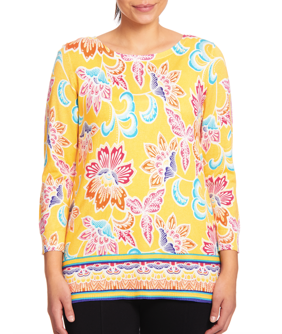 Crewneck Keyhole Tunic Sweater in Folk Florist Del Sol
