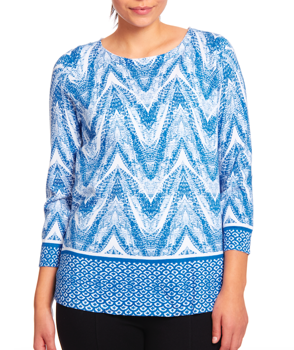 Crewneck Keyhole Tunic Sweater in Sky Diver