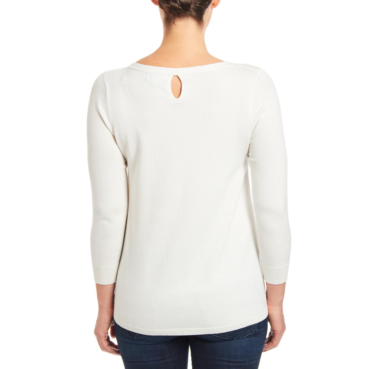 Crewneck Keyhole Tunic Sweater in Ivory