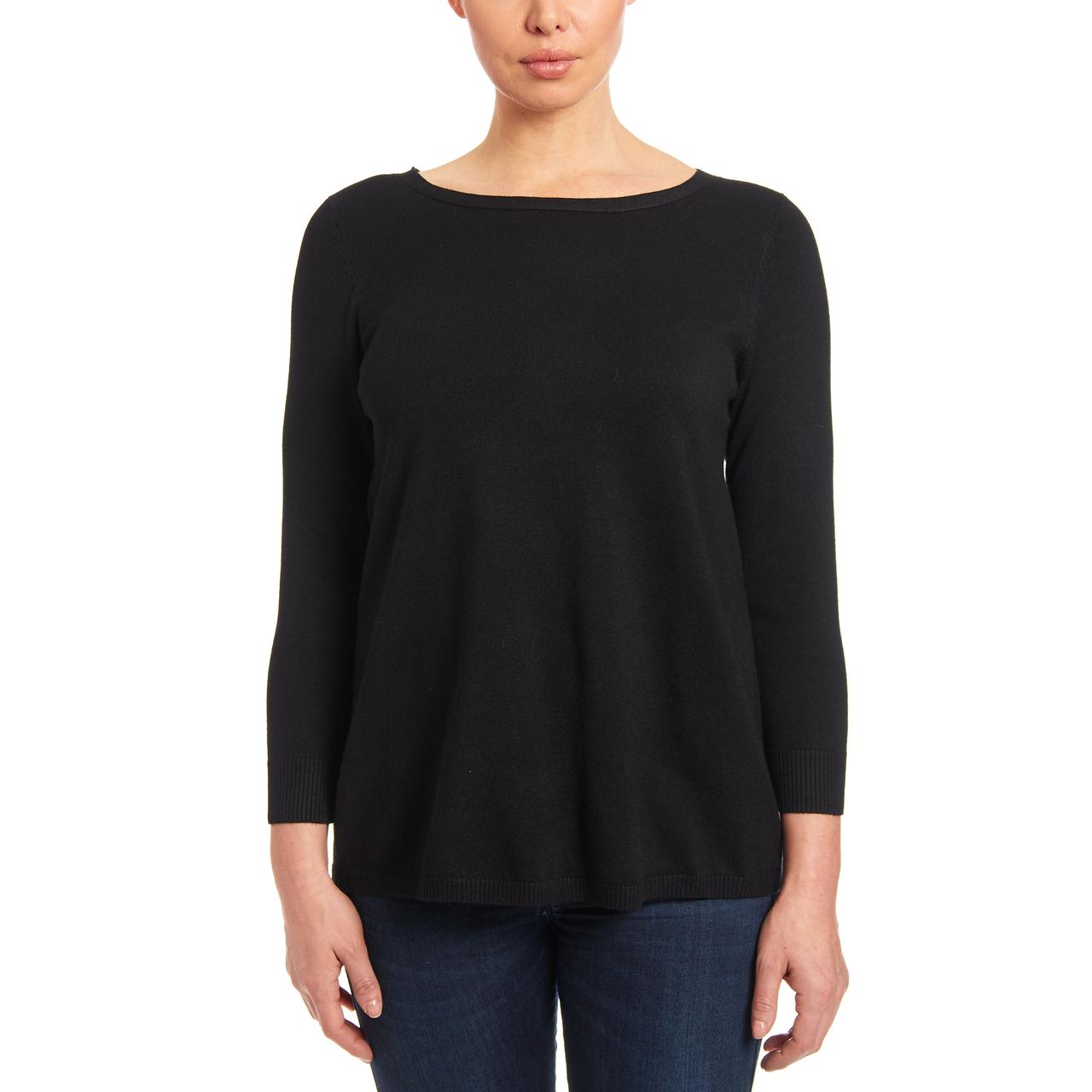 Crewneck Keyhole Tunic Sweater in Black