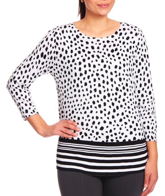 Crewneck Keyhole Sweater in Dotty White